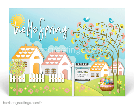 springtime happy Easter postcards for Realtors