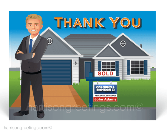 """Just Sold"" Thank You Cards for Realtors"