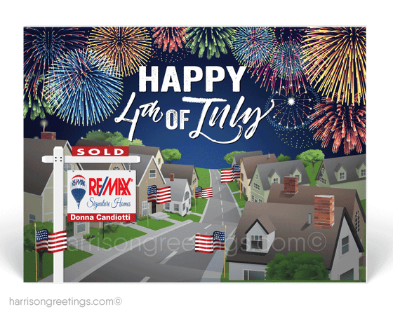 happy 4th of july from your realtor. Neighborhood with Houses on the Fourth of July with Fireworks.