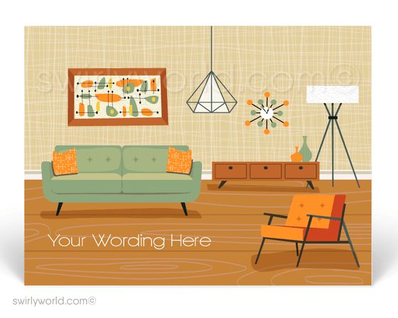 Retro Atomic Ranch  Mid-Century Modern Living Room  Eichler Home Postcards