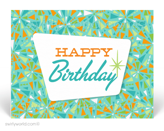 1960's Retro Atomic Mod Mid-Century Starburst Pattern Happy Birthday Postcards