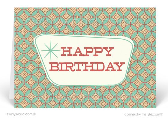 1950's Retro Atomic Modern Diamond Pattern Happy Birthday Cards