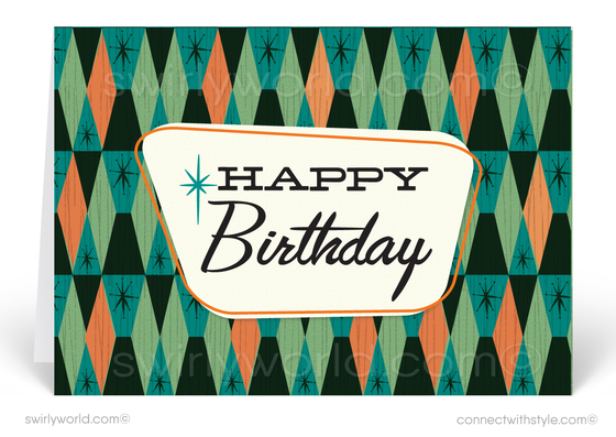 Cool Retro 1950's Mid-Century Modern Diamond Pattern Design Happy Birthday Cards