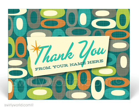 1950's Retro Mid-Century Modern Shapes Design Thank You Postcards