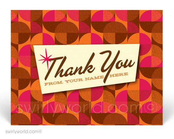 1960's Retro Mid-Century Modern Shapes Design Thank You Postcards