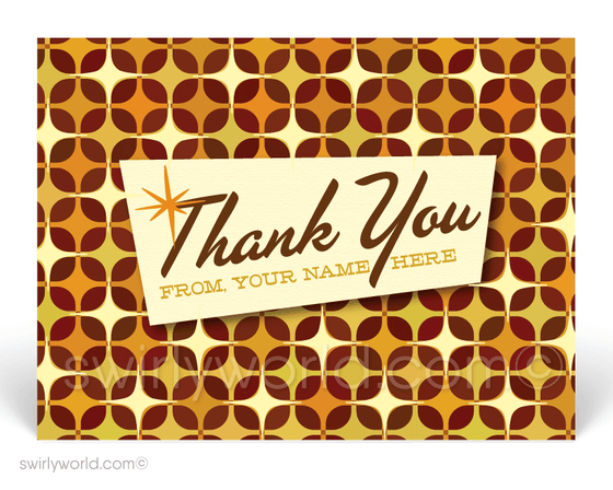 1950's Atomic Modern Starburst Design Pattern Thank You Postcards