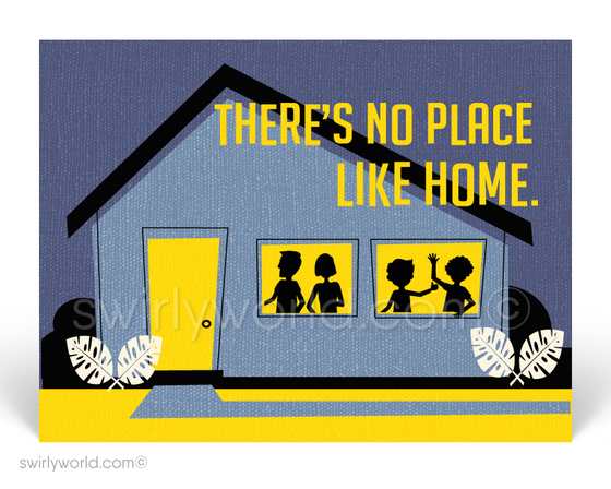 There's No Place Like Home Retro Modern House Design Postcards for Realtors. Welcome Home