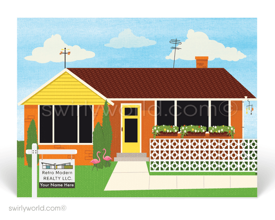 Retro Atomic Ranch home. Mid-Century modern home design. There's no place like home. Stay home. Postcards for Realtors.