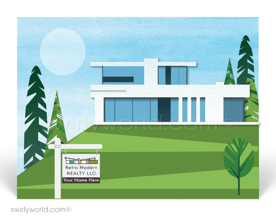 mid-century contemporary modern white house. Marketing postcards for realtors.