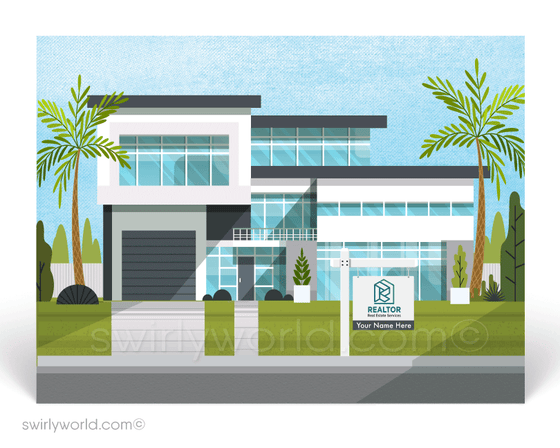 Contemporary Modern White Beach House Postcard Marketing for Realtors