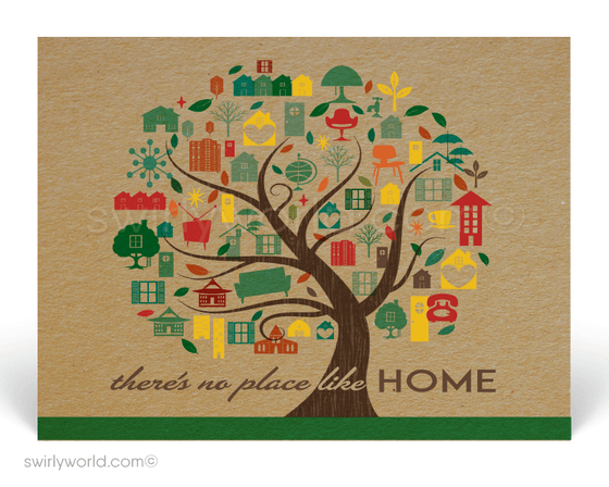 Home is where the heart is. We are all in this together. Stay home and stay safe. Cute retro modern postcards for realtors.