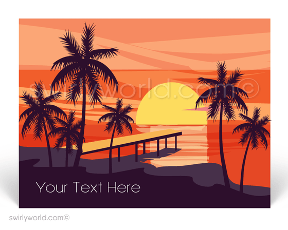 Gorgeous Sunset Pier on Beach Prospecting Postcards for Realtors