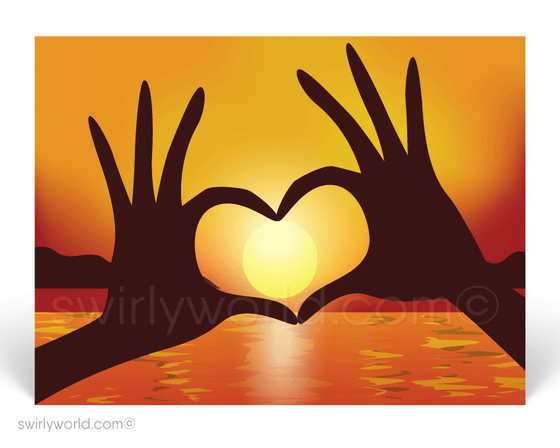 Heart Shaped Hands Around Beautiful Sunset Prospecting Postcards for Realtors