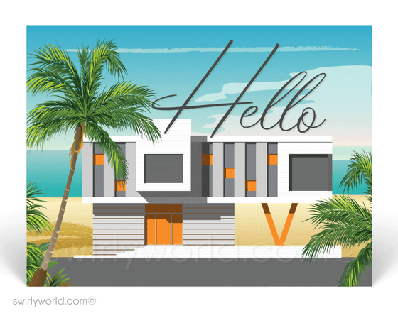 retro atomic mid-century modern white beach house