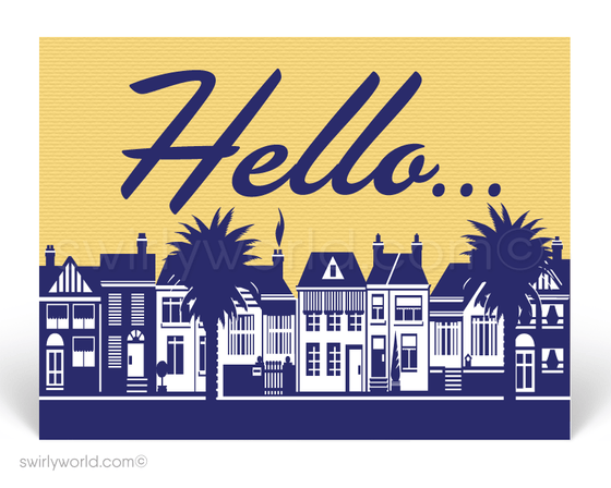 A Friendly Hello From Your Neighborhood Realtor Postcards With Residential Neighborhood Homes