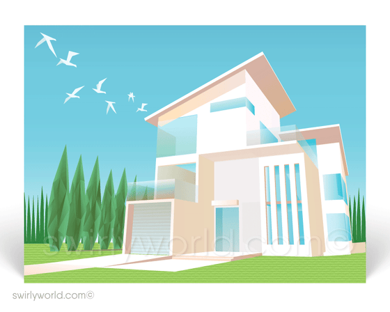 White Contemporary Modern Minimal House Postcards for Realtors