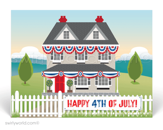 Traditional House decorated for July 4th celebration. Happy 4th of July from your neighborhood realtor.