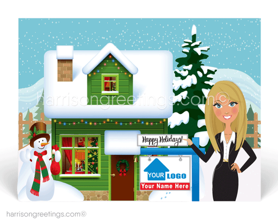 Happy Holidays Christmas Postcards for Realtors