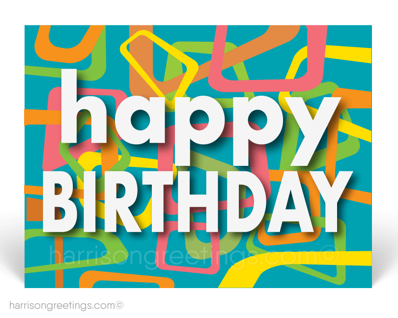 Modern Happy Birthday Postcards for Clients