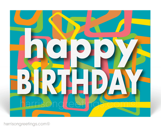 Retro Modern Happy Birthday Postcards for Clients