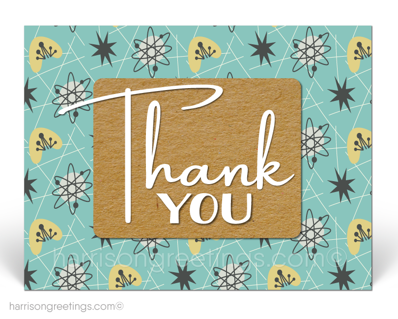 Atomic Retro Mid-Century Modern Thank You Postcards for Business