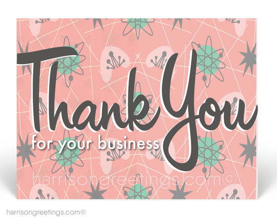 Atomic Mid Century Modern Thank You Postcards for Business