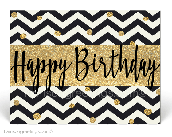 Black and Gold Happy Birthday Postcards for Business