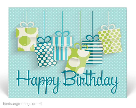 Retro Modern Gift Packages Happy Birthday Postcards