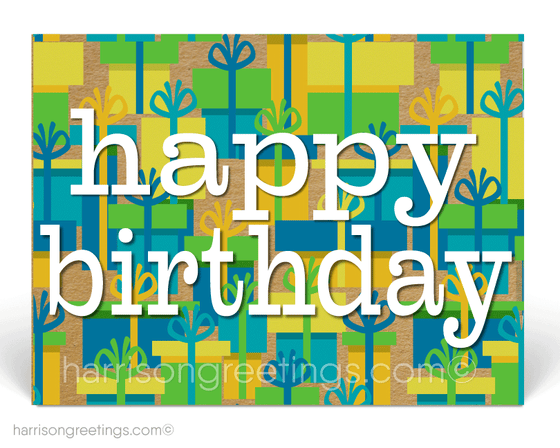 Retro Modern Happy Birthday Postcards for Customers