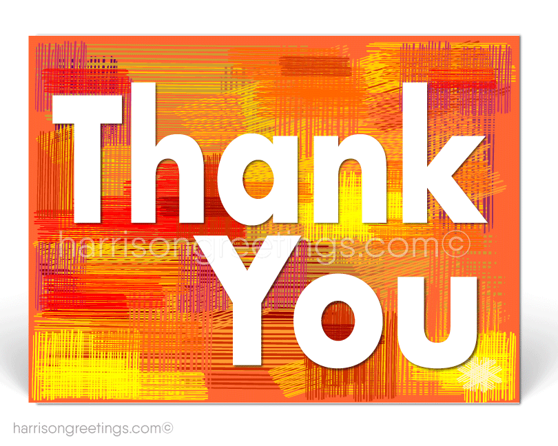 Orange Retro Thank You Postcards for Business