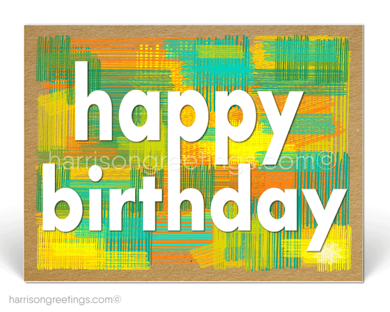 Modern Retro Happy Birthday Client Postcards