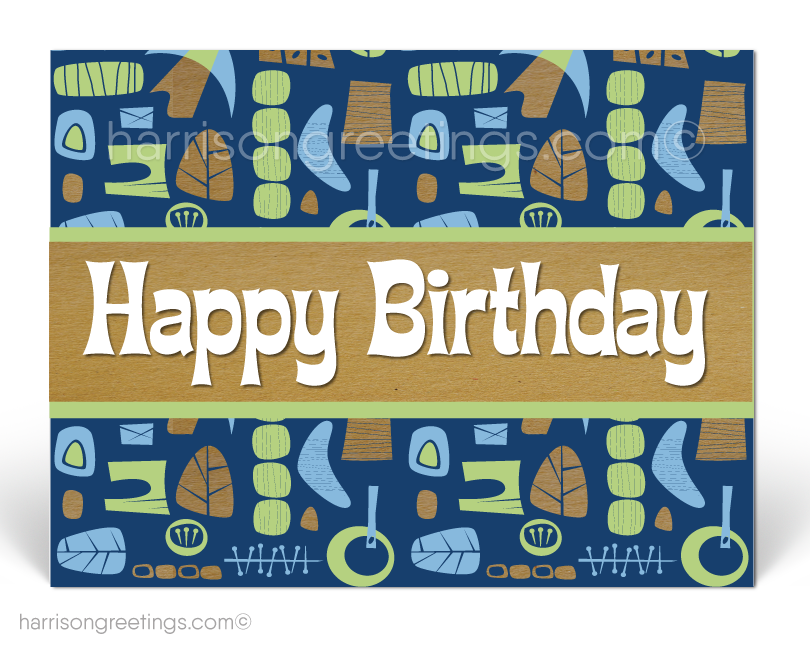 Retro Tiki Happy Birthday Client Postcards