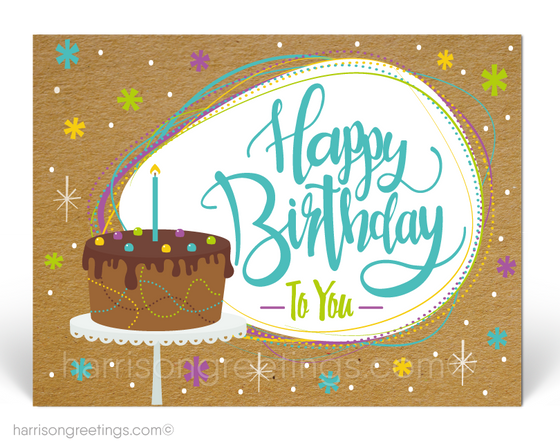 Retro Happy Birthday Client Postcards