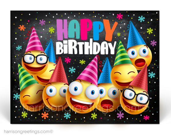 Emoji Happy Birthday Client Postcards