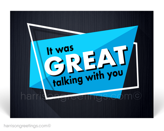 """It Was Great Talking With You"" Sales Promotion Postcards"