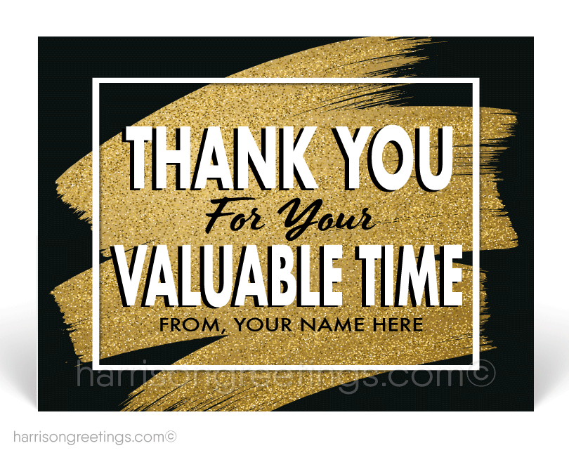 """Thank You For Your Valuable Time"" Client Postcards"