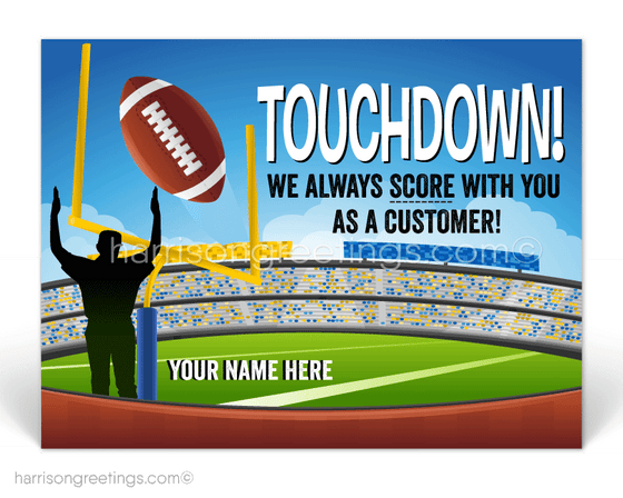 Football Customer Thank You Postcards for Business