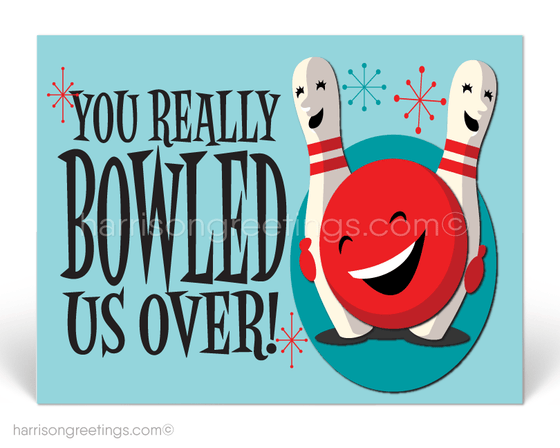 You Really Bowled Us Over Thank You Postcards for Customers