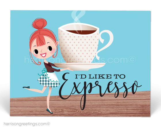 """I'd Like To Expresso"" Cute Announcement Postcards"
