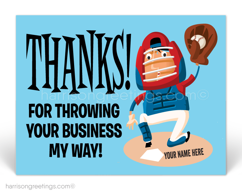 Baseball Thank You Business Postcards for Customers