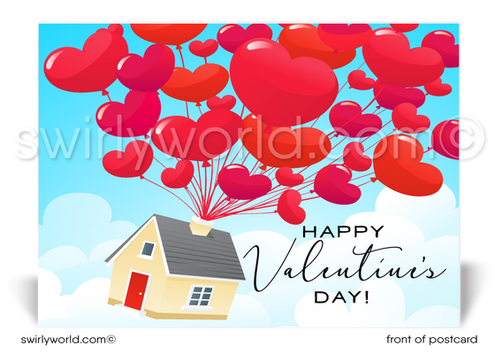 Heart Shaped Balloons on House Valentine's Day Postcards for Realtors