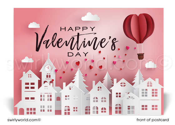 Cute Neighborhood Happy Valentine's Day Postcards for Realtors