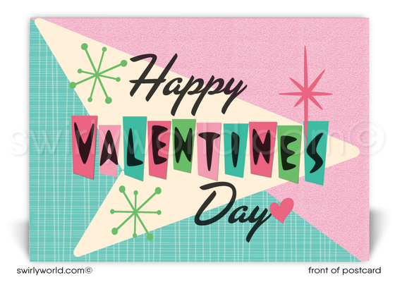 Mid-Century Modern Retro Happy Valentine's Day Postcards for Business