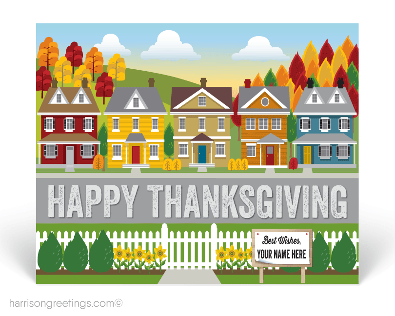 happy thanksgiving postcards for realtors and real estate agents