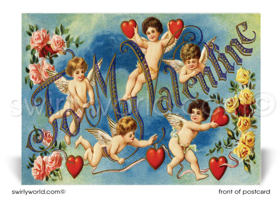 1920s Art Deco Vintage Victorian Happy Valentine's Day postcards