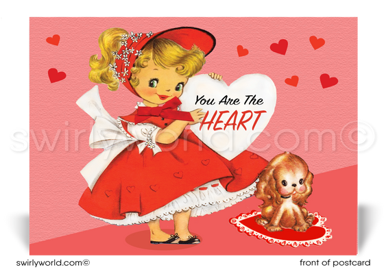 Vintage Mid-Century Retro Happy Valentine's Day Postcards
