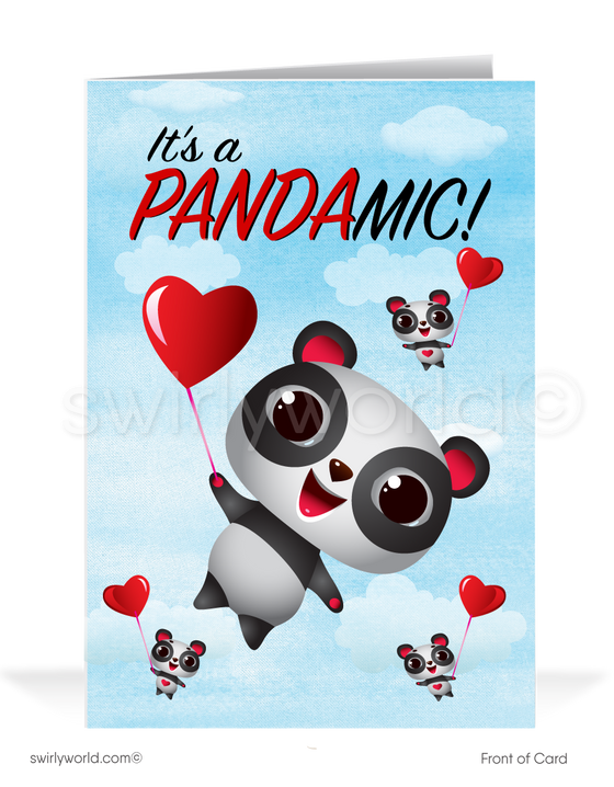 Funny Covid-19 Pandemic Panda Business Professional Valentine's Day Card