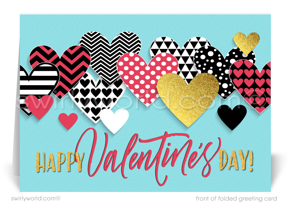 Professional Business Retro Valentine's Day Cards for Customers