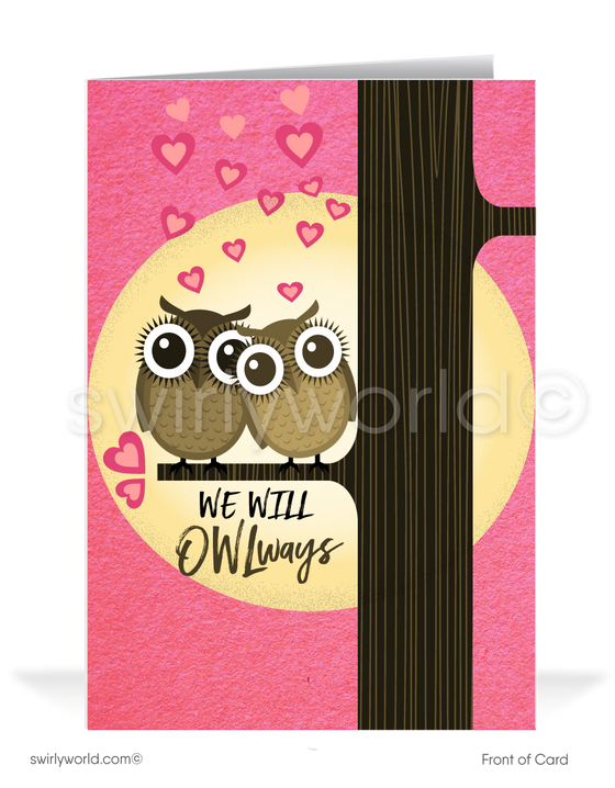 Cute Owl Retro Modern Valentine's Day Cards for Clients
