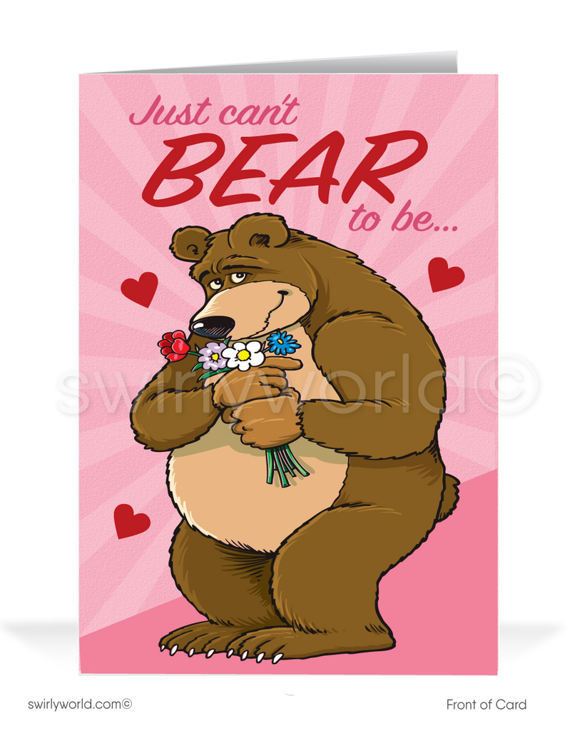Funny Bear Business Cartoon Valentine's Day Cards For Customers